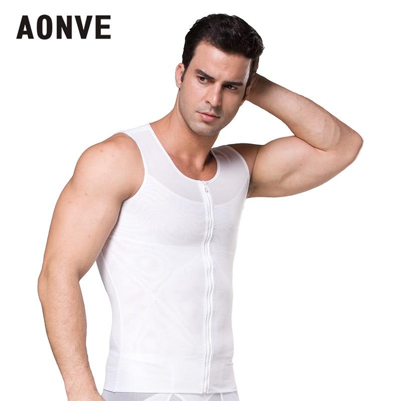 Aonve Männlichen Former Hombre Bauch Shapewear Männer Bauch Abnehmen Haltung Weste Top Body Shaper Stretchy Zipper Unterwäsche S-2xl