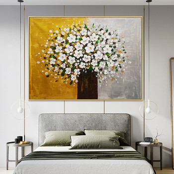Flowers gold tree painting palette knife 3D texture on Canvas  acrylic Painting Wall Pictures For Living Room home decor caudro