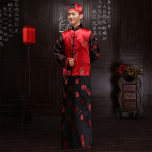 Chinese style show mens suit groom pratensis long-sleeve tang suits long gown jacket wedding dress evening dragon Robe