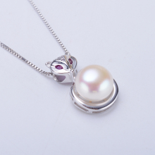 Real 925 sterling Silver fox pendant with cultured freshwater 6.5-7mm pearl Necklace fashion Jewelry For Girls