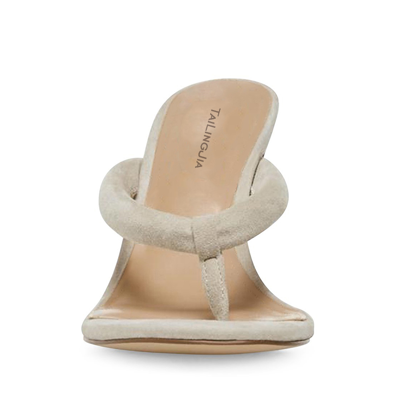 Модные женские сандалии на высоком каблуке; Цвет Черный; вьетнамки на каблуке; цвет бежевый; женские летние туфли на шпильке; большие размеры; 2019 - 3