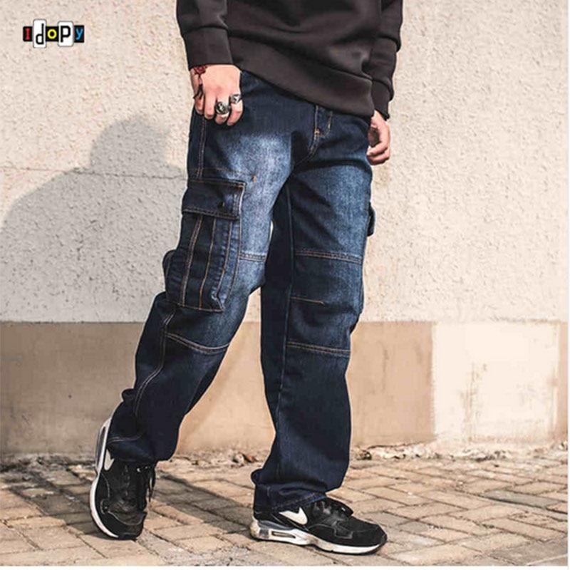 Fashion Men`s Biker Jeans Heavy Duty Multi Pockets Japanese Style Loose Fit Plus Size Cargo Denim Pants For Hipster