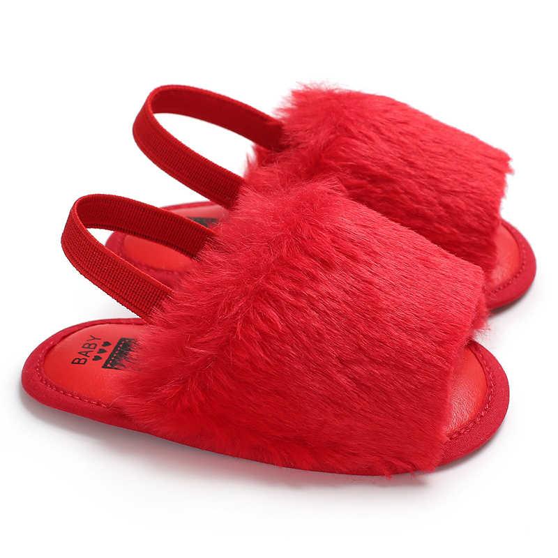 5bc6613cd ... Fashion Cute Toddler Kids Baby Girl Summer Faux Fur Pompom Anti-slip  Flip-flops ...