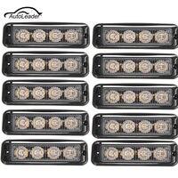 10Pcs Car Side Light 4LED Truck Emergency Beacon Warning Light Bar Hazard Strobe Yellow Amber