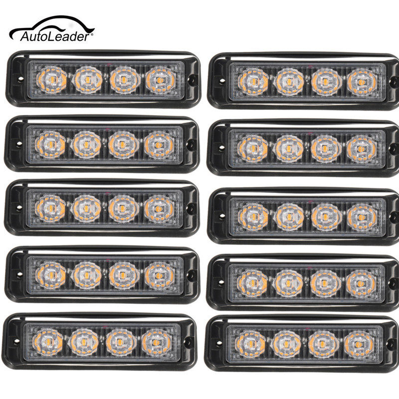 10Pcs Fog Light Car Side Light 4LED Truck Emergency Beacon Warning Light Bar Hazard Strobe Yellow Amber 4x 4 led car flash truck emergency beacon light bar hazard strobe warning amber white blue red