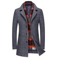 Hot Autumn And Winter Men S Jacket Business Casual Warm Men Wool Coat Slim Windbreaker Long