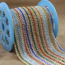 (Free shipping)10yards/lot, 3 rows close crystal chain with SS12 jet back stones in middle row gold or sliver setting