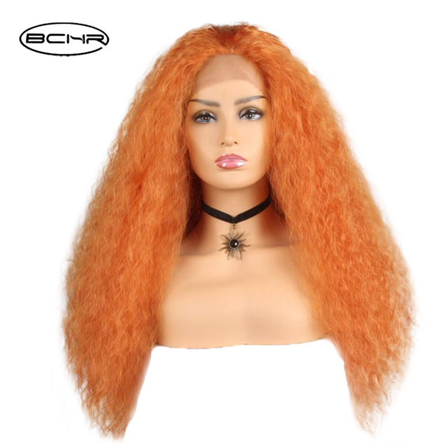BCHR Curly Lace Front Synthetic Wigs 130% density pre plucked lace for Women  Orange Color 5c8749008