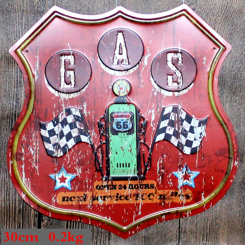 Route Gas Metal Irregular Tin Signs Vintage Advertising board Wall Pub Coffee Home Art Garage Decor 30CM U 12 in Plaques Signs from Home Garden