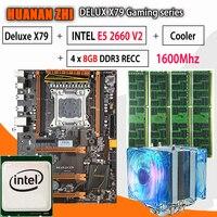 HUANAN ZHI Deluxe X79 игровая материнская плата LGA 2011 ATX Процессор E5 2660 V2 SR1AB 4x8 г 1600 МГц 32 Гб DDR3 rec памяти с охладитель
