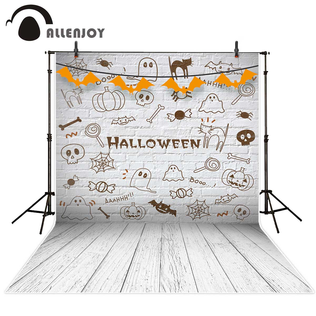 Allenjoy Lovely Halloween Decoration White Brick Wall Wooden Floor Ghost photographic background Background for photo studio funry us au standard remote switch crystal glass panel wall light touch switch 2 gang 1 way compatible broadlink rm2 rm pro