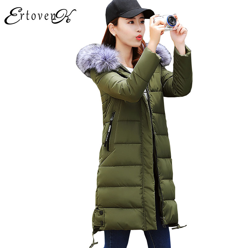 Fur collar Women Winter parkas New Slim 2017 Hooded overcoat Femmes Solid color Coats Long section Feather Padded Outerwear C57 an improved dbscan algorithm for high dimensional datasets