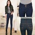 Pantalones Vaqueros de Cintura alta Pantalones De Las Mujeres 2016 Pantalones Del Lápiz de Las Mujeres de sólidos Lápiz Pantalones Azul Negro Flaco Pantalones de Mezclilla Más El Tamaño P8114