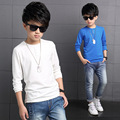 Toddler Boys New Autumn Style Long Sleeve Solid White/Blue/Black Color Korean Fashion O-neck Pullover Cotton Shirts