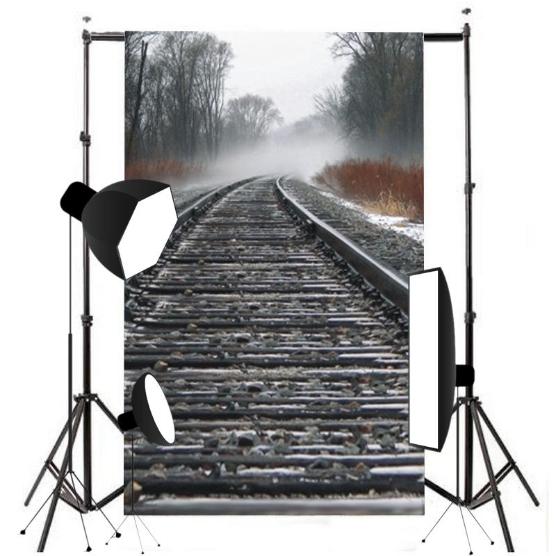 7x5ft Train Road Stone Photography Backdrop Cloth Railway Track Theme Background For Photography Party Bar
