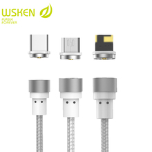 WSKEN Round Magnetic Cable ,USB C Type C Micro USB Cable Magnetic Charger Mobile Phone Cables For iPhone 7 8 X USB Cable