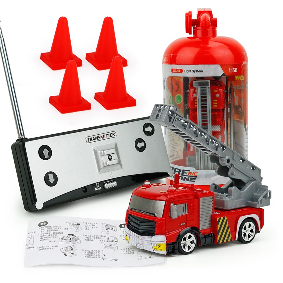 2019 NEW Childrens RC Fire Engine Remote Control Fire Truck With Tank/Ladder Flashing Light