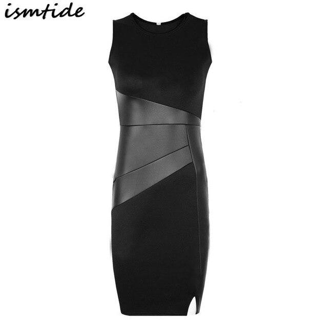 d31556ee94b Woman Fashion PU Leather Dress Slim Round Collar Sleeveless Women Sheath  Knee Length Dress PU Leather