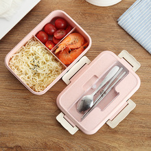Wheat Straw Lunch Box Can Be Microwave Sealed Student with Lid Compartment Fresh Food lunch box for office
