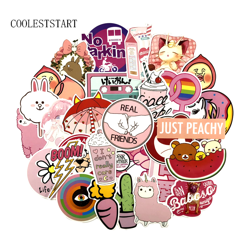 50Pcs/Set PVC Waterproof Pink Girls Fun Sticker Toys Luggage Stickers For Moto Car Suitcase Notebook Cool Fashion Laptop Sticker50Pcs/Set PVC Waterproof Pink Girls Fun Sticker Toys Luggage Stickers For Moto Car Suitcase Notebook Cool Fashion Laptop Sticker