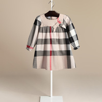 NAKKESHMEN 2018 New European American Style Children S Clothes Bowknot Round Neck Girls Dress Kid S