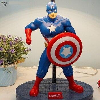 Captain America Desk Lamps Led Light Fixture Cartoon Minimalist Modern Creative Bedside Idea Children's Room Boy's Bedroom Gift