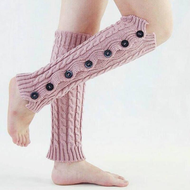 ⊹Punto japonés Calentadores para piernas mujeres botones Medias de ...