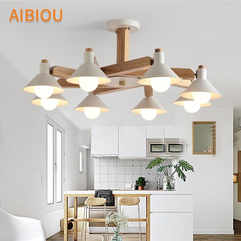 AIBIOU Nordic Chandelier White Lustre For Living Room Modern Chandelier Lighting E27 Wooden Chandeliers Dining Lighting Fixtures