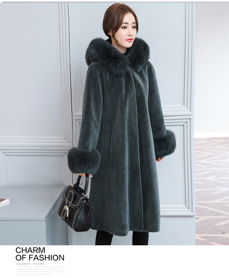 Fashion Winter Faux Sheep Velvet Warm Coat Women Long Sleeve Parkas High Quality Outerwear Long Faux Mink Fur Collar Coats winter fur coat 2015 new women imitation mink elegance long sleeve faux fur coats long jacket warm outwear with belt qy241
