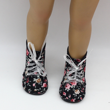 Black Floral Lace Up Boots Shoes Accessories for 18 inch American Girl My Life Our Generation