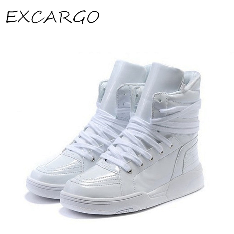 Hot Selling Solid Color Hip Hop Shoes Men White PU Dance Shoes Platform High Increased Men High Tops Sapatos Masculinos