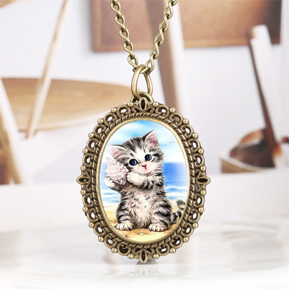 Lovely Cute Cat Pattern Pocket Watch Oval Small Size Elegant Women Watches With Necklace Pendant 2019 New Fashion Clock Gifts