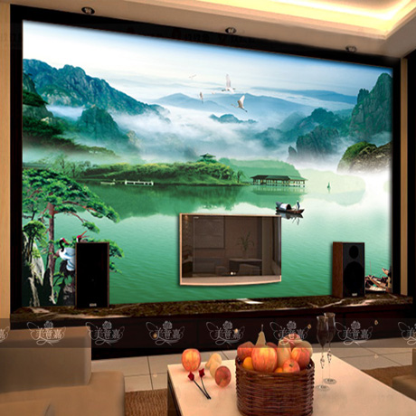 Custom large mural landscapes living room bedroom TV backdrop of Chinese television wall 3D wallpaper цена и фото