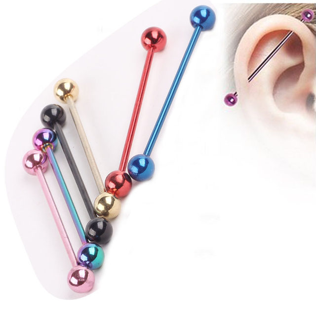 14 Gauge Basic Barbell Body Jewelry 38mm Mixed Color Tragus Earring Bar Stud For Men Women