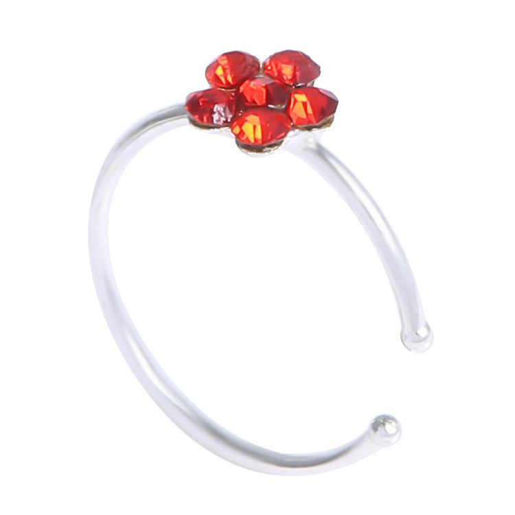 Lotus Medical Titanium Nose Ring Silver Gold Body Clip Hoop Women Septum Piercing Clip 2019