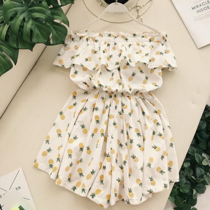 Women Rompers 2018 Summer new Slash neck Pineapple Print Flounce High Waist Wide Leg Shorts Female Jumpsuit