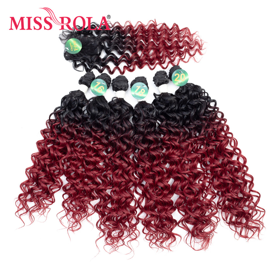 Miss Rola Synthetic Curly Hair Extensions 16-20inch 6pcs/Pack 200g Ombre Colored Hair Weaving Bunles For Women