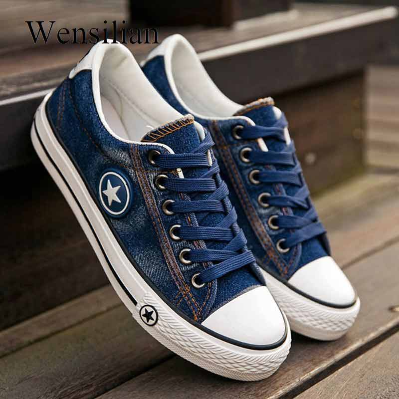 Fashion Sneakers Women Denim Canvas Shoes Female Summer Casual Shoes Trainers Lace Up Ladies Basket femme Stars tenis femininoFashion Sneakers Women Denim Canvas Shoes Female Summer Casual Shoes Trainers Lace Up Ladies Basket femme Stars tenis feminino