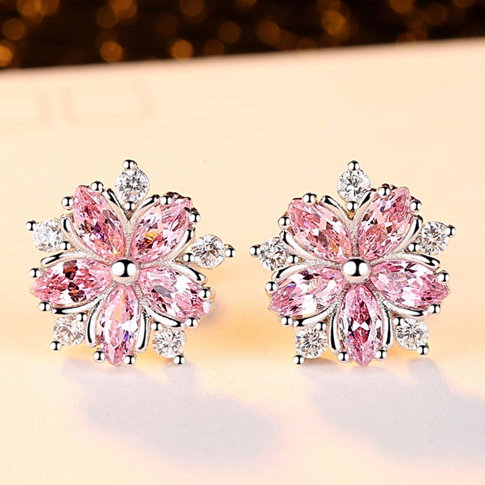 Beiver Pink Sakura Cubic Zirconia Earrings for Women in Rhodium Plated Wedding Decoration Fashion Jewelry Free Shipping