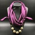 Твердые Шелковый Платок медный шар Позолоченный Кулон Женщин Шарф Аксессуар Простой Стиль Элегантных Женщин 2016 зимней Моды шарфы