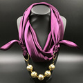 solid Silk Shawl copper ball Plated Pendant Women Scarf Accessory Simple Style Elegant Women 2016 winter Fashion scarves