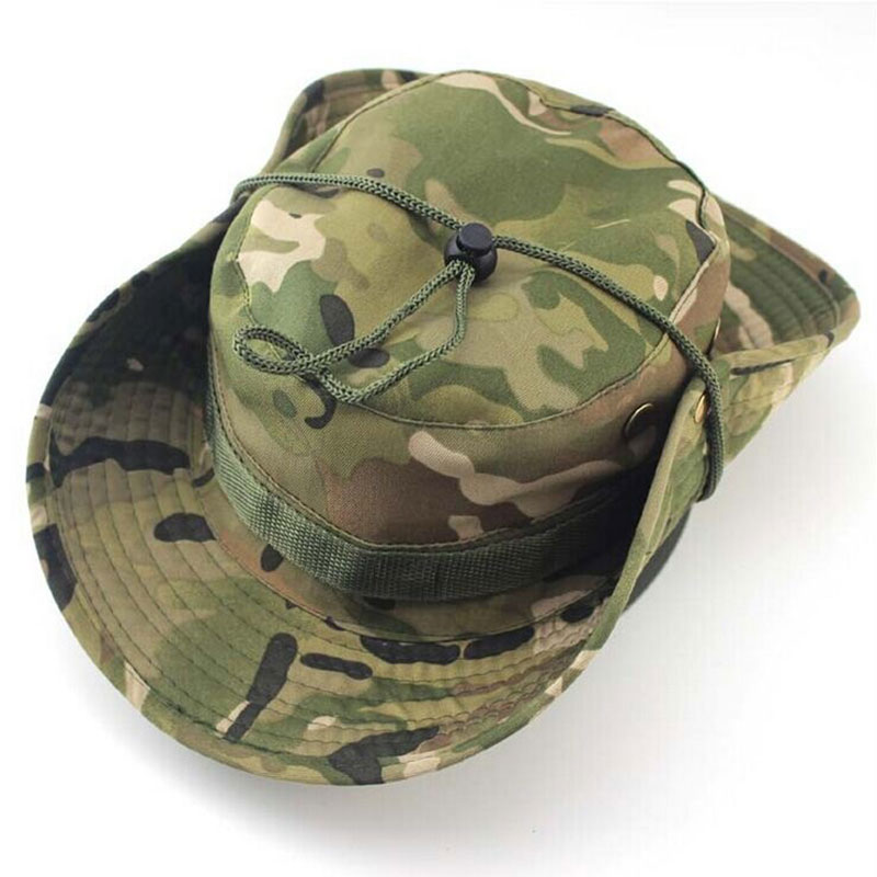 1442f7c5427db Men Women Sports Boonie Washed Cotton Twill Chin Cord Military Camouflage  Hunting Hat Travel Sun Cap Bucket Style Fisherman Hats-in Hunting Caps from  Sports ...