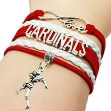 Drop Shipping Infinity Love Cardinals Sports Man Charm Handmade Leather Wrap Bracelet Custom Basketball Fans Bracelet