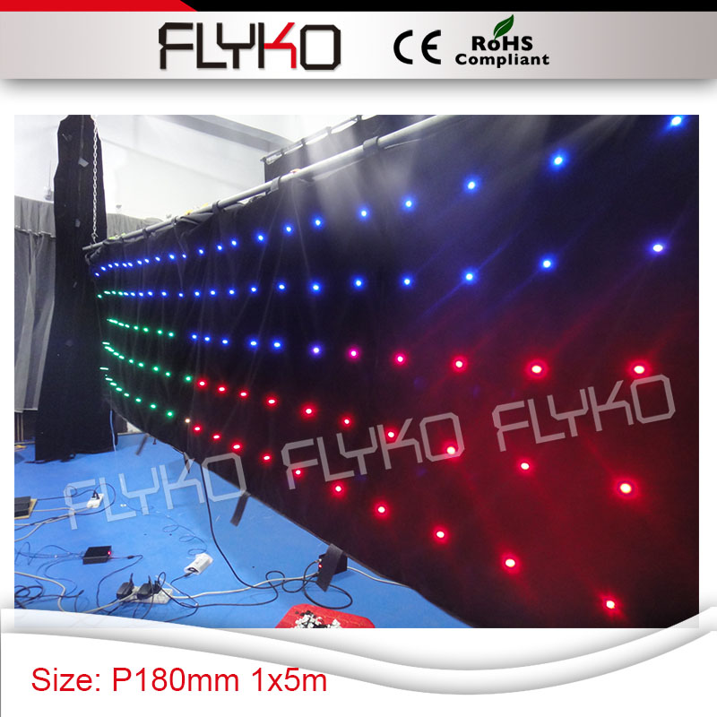 night club lights stage wedding 4ft*17ft full color indoor soft flexible P18cm x viedo backdrop led curtain