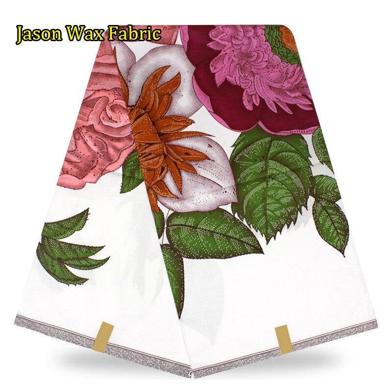 New arrival Super wax hollandais prints veritable white JAVA wax hollandais fabric 6yards/lot for sewing dress