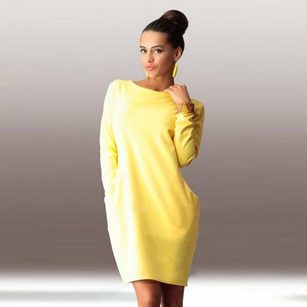 faaba27a71a Winter Dresses Mini 2016 Long Sleeve Solid Warm Slim Casual Elegant Autumn  Women Dress Plus Size Cotton Yellow Dress Top Quality