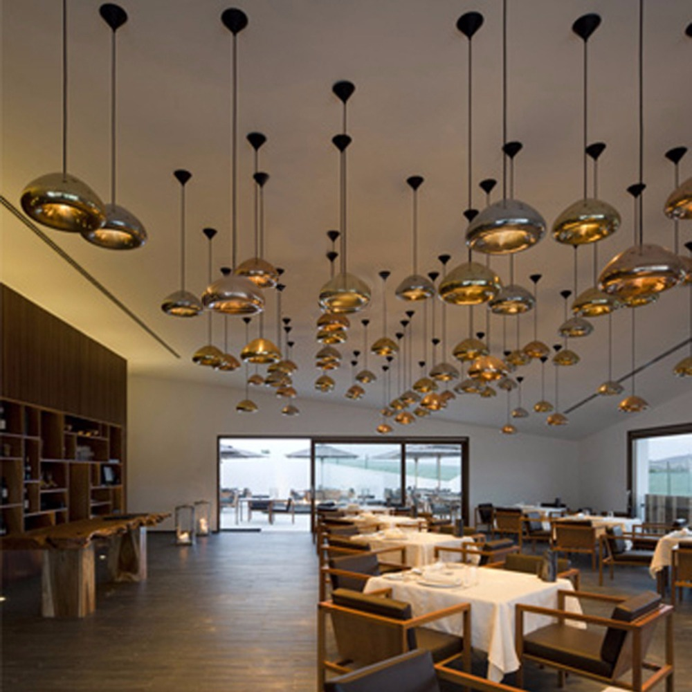 Floureon Led Pendant Light,brass Bowl Mirror Shade Art Modern Creative  Decorative Lighting Lampshade Pendant