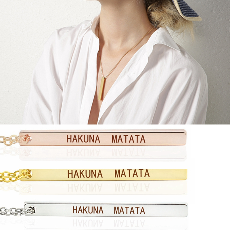 Inspirational Quote Hakuna Matata Vertical Bar Necklace Ancient African Proverb Engraved Necklace for Boyfriend and Girlfriend image