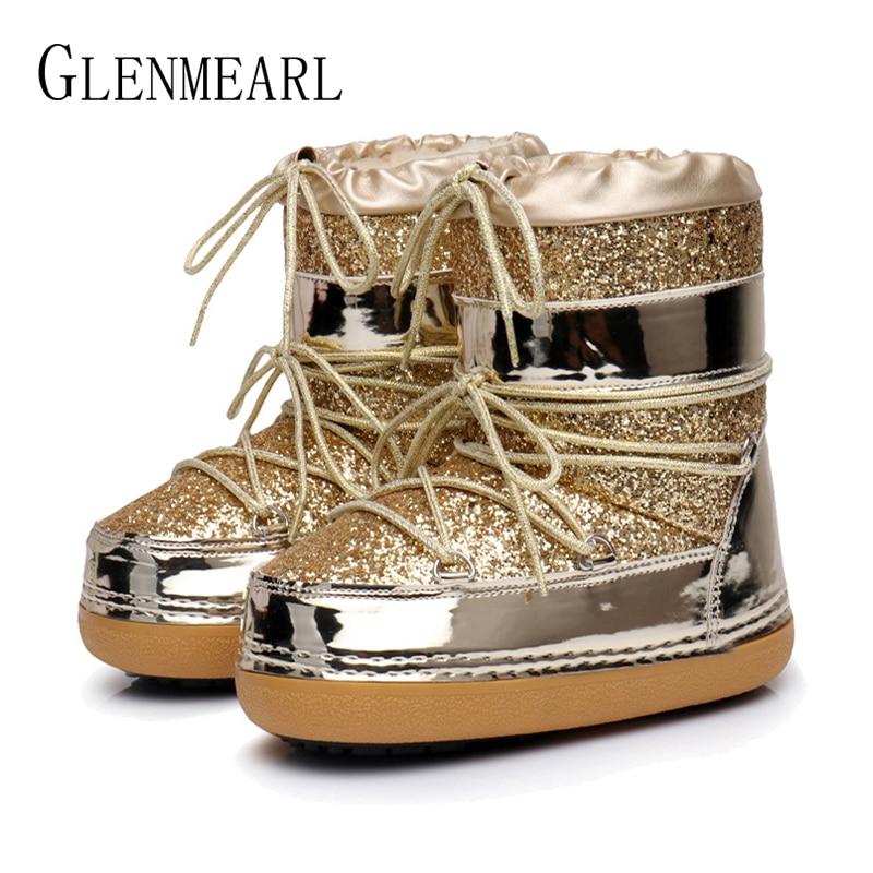 Botas de nieve de invierno botas de tobillo de las mujeres zapatos de piel caliente botas Mujer Plus tamaño zapatos casuales zapatos de plataforma antideslizante oro Bling la falta a DE