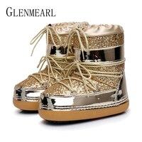 Snow Boots Winter Ankle Boots Women Shoes Fur Warm Boots Female Plus Size Casual Shoes Platform Non Slip Gold Bling Lack Up DE